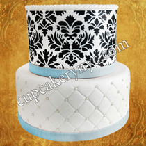 damask wedding cakes decoration