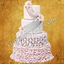 fabric inspired wedding cake